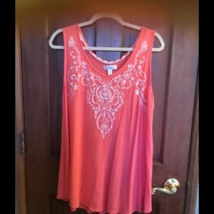 Coral Embroidered Tank 1X